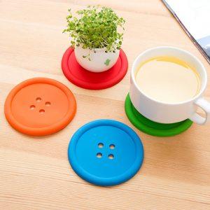 4 Piece Silicone Button Style Coasters
