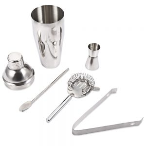 5 Piece Professional Cocktail Shaker - Stainless Steel