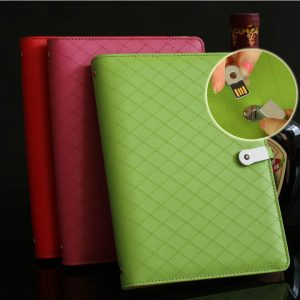 A5 PU Cover Notebook with 8GB usb Clip (2)