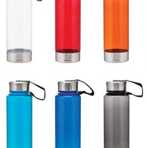 Acrylic Water Bottles with Stainless Steel Lid and Base