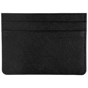 Black Textured Leather Card Holder