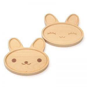 Kiddies Rabbit Faced wooden Plates