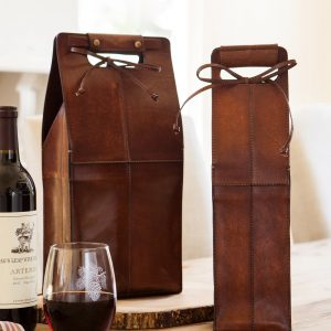 Tan Leather Wine Carriers (Single and Double Bottle Holders)