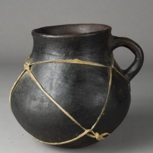 Traditional African Clay Jug with Handle