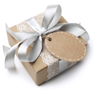 Elegant gift box with blank tag for wedding, anniversary, birthday or winter holidays.